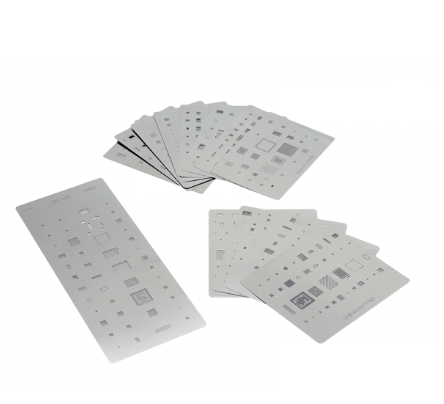 KIT DE 12 STENCIL RETRABALHO REBALLING IPHONE 6, 6P, 6S, 6SP, 7, 7 P, 8, 8P, X, XR, XS, XS MAX